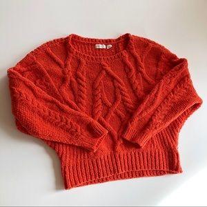 Antro Sleeping on snow orange cable knit sweater